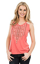 Anne French Coral with Brown Aztec and Crochet Shoulder Sleeveless Fashion Shirt