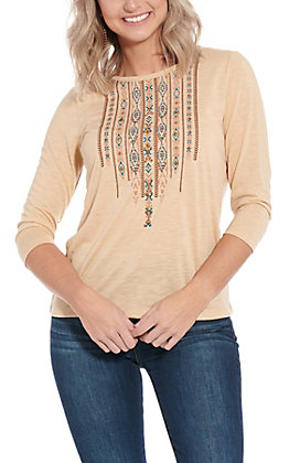 Rockin' C Women's Tan Studded Fashion Top