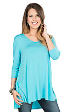 Anne French Turquoise Hi-Lo 3/4 Sleeve Knit Tunic / Dress