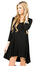 Anne French Black Hi-Lo 3/4 Sleeve Knit Tunic / Dress