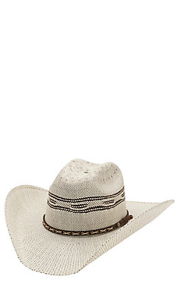 Cavender's 10X Two Tone Bangora Vented Crown Straw Cowboy Hat 27BR150425