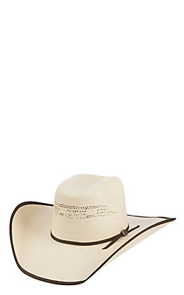 Cavender's Natural Bangora Vented Crown Straw Cowboy Hat 27BREP45C
