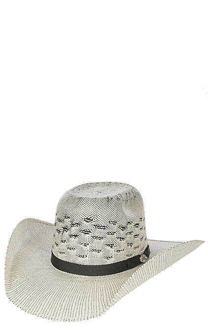 11d872b86 Cavender's Cowboy Collection Black & Ivory Two Tone Bullrider Crown Straw  Cowboy Hat