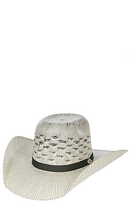 5c3d968b38b301 Cavender's Cowboy Collection Black & Ivory Two Tone Bullrider Crown Straw Cowboy  Hat
