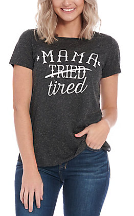 Daisy Rae Wome's Charcoal Mama Tired Graphic Short Sleeve T-Shirt