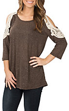 Grace and Emma Women's Brown Crochet Cold Shoulder 3/4 Length Fashion Shirt