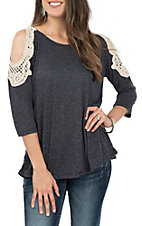 Grace and Emma Women's Navy Crochet Cold Shoulder 3/4 Sleeve  Fashion Shirt