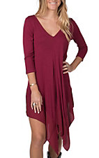 Anne French Women's Wine V-Neck with Chiffon Tunic/Dress