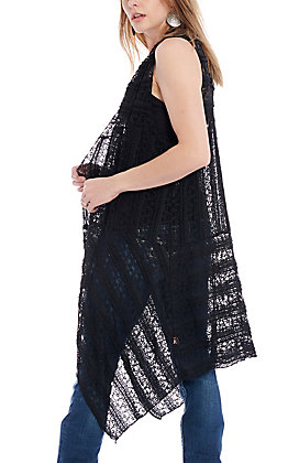 Magnolia Lane Women's Black Crochet Lace Vest