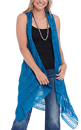 Magnolia Lane Women's Blue Crochet Lace Vest