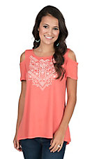 Anne French Women's Coral with Embroidery Cold Shoulder Fashion Top