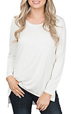 Anne French Women's Solid Ivory Long Sleeve Casual Knit Shirt