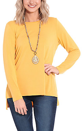 Magnolia Lane Women's Solid Light Gold Long Sleeve Tunic Top