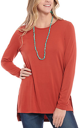 Rockin' C Women's Rust Long Sleeve Fashion Top