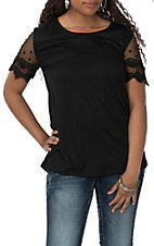 Grace and Emma Black Lace Sleeve Fashion Shirt