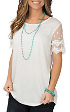 Grace and Emma White Lace Sleeve Fashion Shirt