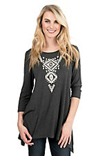 Steel Roses Women's Grey with Cream Aztec Embroidery 3/4 Sleeve Tunic Fashion Top