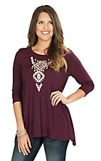 Steel Roses Women's Plum with Cream Aztec Embroidery 3/4 Sleeve Tunic Fashion Top