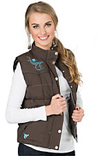 Cowgirl Hardware Women's Brown with Turquoise Blooming Horseshoe Vest