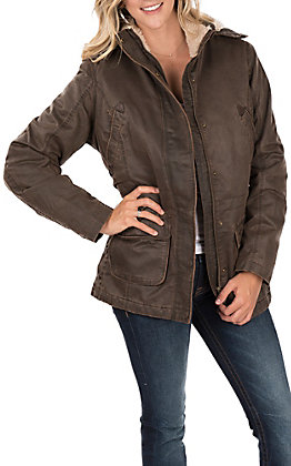 Outback Trading Company Women's Brown Woodbury Canyonland Sherpa Lined Hooded Jacket