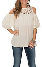 Grace & Emma Women's Cream with Lace Accent Cold Shoulder Fashion Shirt