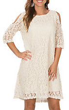 Grace & Emma Cream Lace Hi Lo Tunic Cold Shoulder Dress