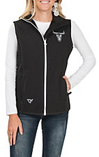 Cowgirl Hardware Women's Black with Skull Embroidery & Rhinestones Vest