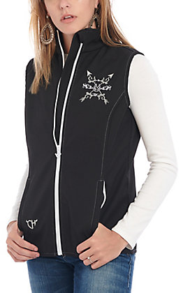 Cowgirl Hardware Women's Black Horseshoe & Arrow Softshell Vest