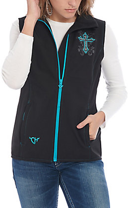 Cowgirl Hardware Women's Black Blooming Cross Softshell Vest