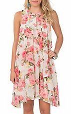 Grace & Emma Pink and White Floral Sleeveless Dress