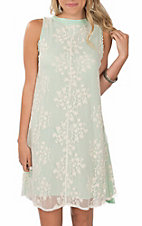Grace & Emma Women's Mint Sleeveless Lace Dress