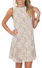 Grace & Emma Women's Taupe Sleeveless Lace Dress