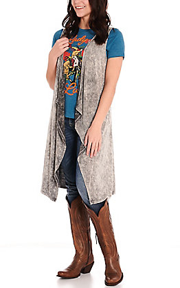 Cowgirl Hardware Women's Graphite Grey Distressed Long Knit Vest