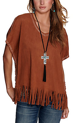 Cowgirl Hardware Women's Mocha Brown Faux Suede with Fringe Poncho Fashion Top
