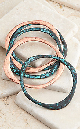 Blazin Roxx Five Piece Copper and Patina Bangle Bracelet Set