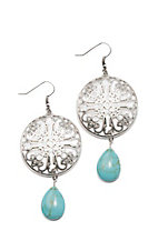 Blazin Roxx Silver Disc with Turquoise Stone Drop Earrings