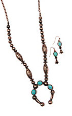Blazin Roxx Brown Concho w/ Turquoise Marble and Earrings Jewelry Set