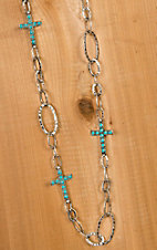 Blazin Roxx Silver Link Chain with Turquoise Cross Necklace & Earrings Jewelry Set 29028