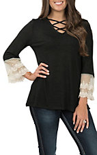 Grace & Emma Women's Black Bell Sleeve Lace Fashion Top
