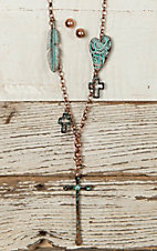 Blazin Roxx Bronze Cross Charm Necklace & Earring Jewelry Set