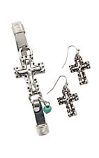 Blazin Roxx Cross Earring and Bracelet Jewelry Set