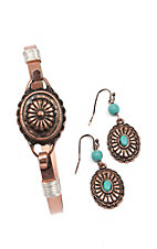 Blazin Roxx Bronze Western Disc and Turquoise Stone Bracelet and Earrings Jewelry Set