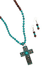 Blazin Roxx Brown and Turquoise Beaded Necklace and Earrings with Patina Cross Jewelry Set