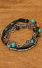 Blazin Roxx Arrow with Mixed Metal & Beads Wrap Bracelet 29044