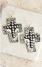 Blazin Roxx Silver Disc and Stud Cross Earrings