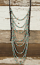 Blazin Roxx Chocolate Suede with Turquoise & Silver Bead Layered Necklace & Earrings Jewelry Set 29050