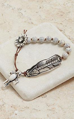 Blazin Roxx Ivory Stone Flower, Arrow & Cross Bracelet