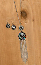 Blazin Roxx Silver Round Pendant with Dangle Chains Necklace & Earrings Jewelry Set 29052