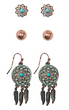 Blazin Roxx Flower, Stud and Dream Catcher 3 Piece Earring Set