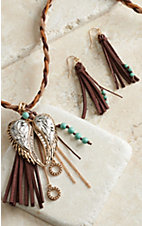 Blazin Roxx Braided Necklace with Wings & Fringe Earrings Jewelry Set 29058